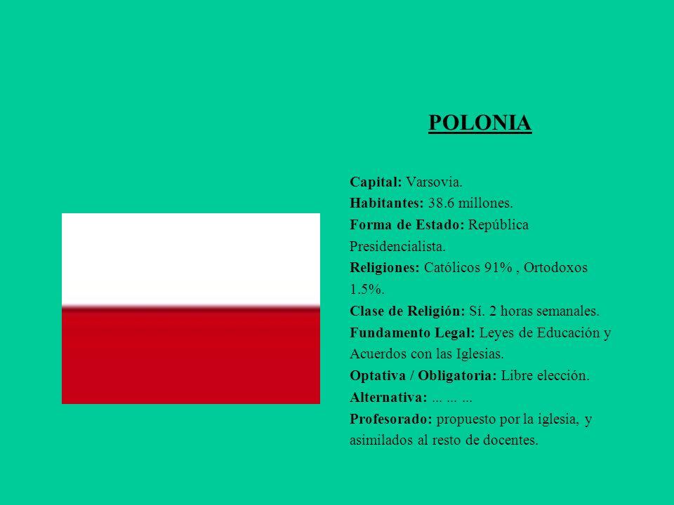 POLONIA Capital: Varsovia. Habitantes: 38.6 millones.