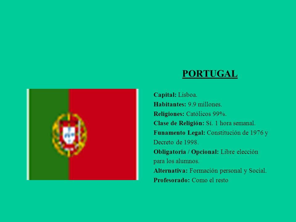 PORTUGAL Capital: Lisboa. Habitantes: 9.9 millones.