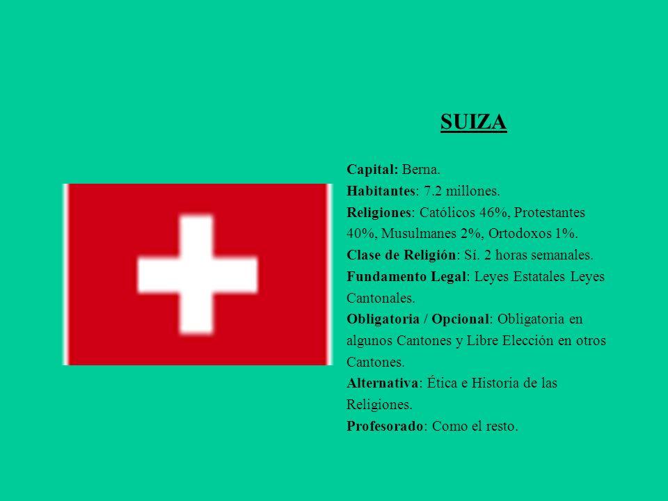 SUIZA Capital: Berna. Habitantes: 7.2 millones.