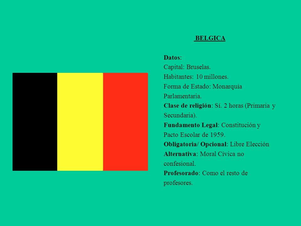 BELGICA Datos: Capital: Bruselas. Habitantes: 10 millones. Forma de Estado: Monarquía. Parlamentaria.