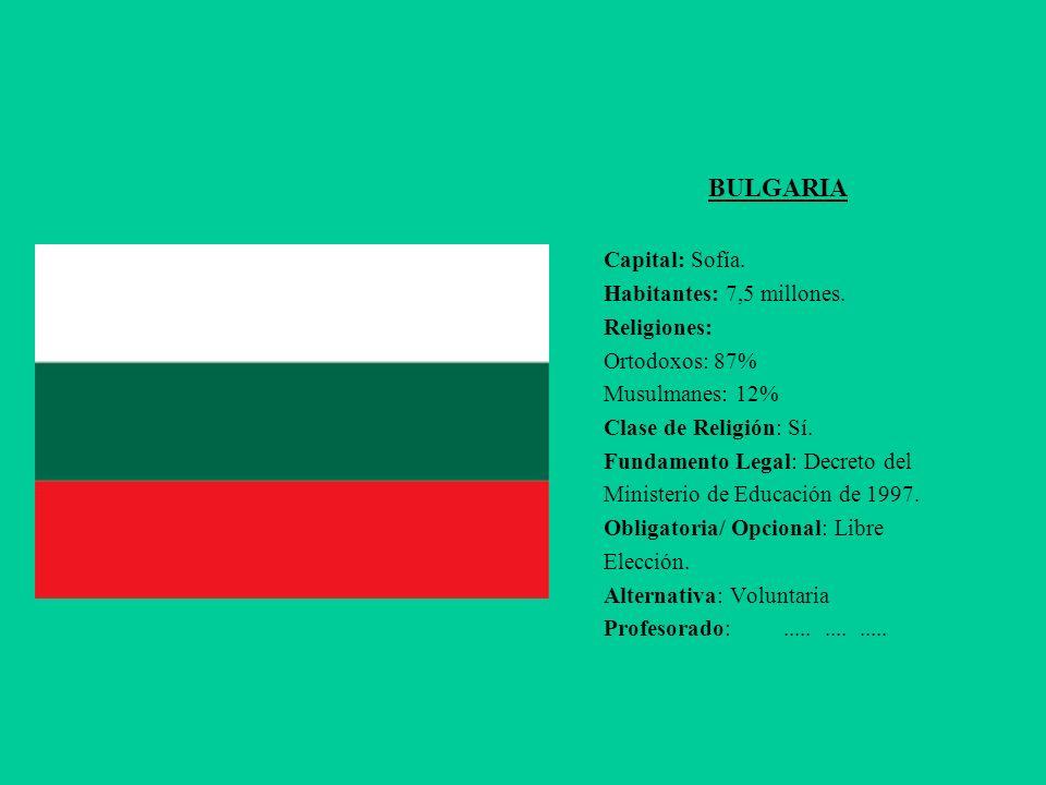 BULGARIA Capital: Sofía. Habitantes: 7,5 millones. Religiones: Ortodoxos: 87% Musulmanes: 12% Clase de Religión: Sí.