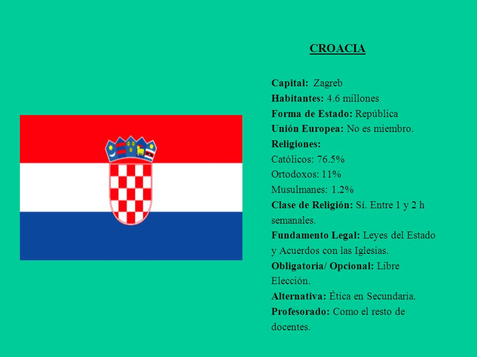 CROACIA Capital: Zagreb Habitantes: 4.6 millones