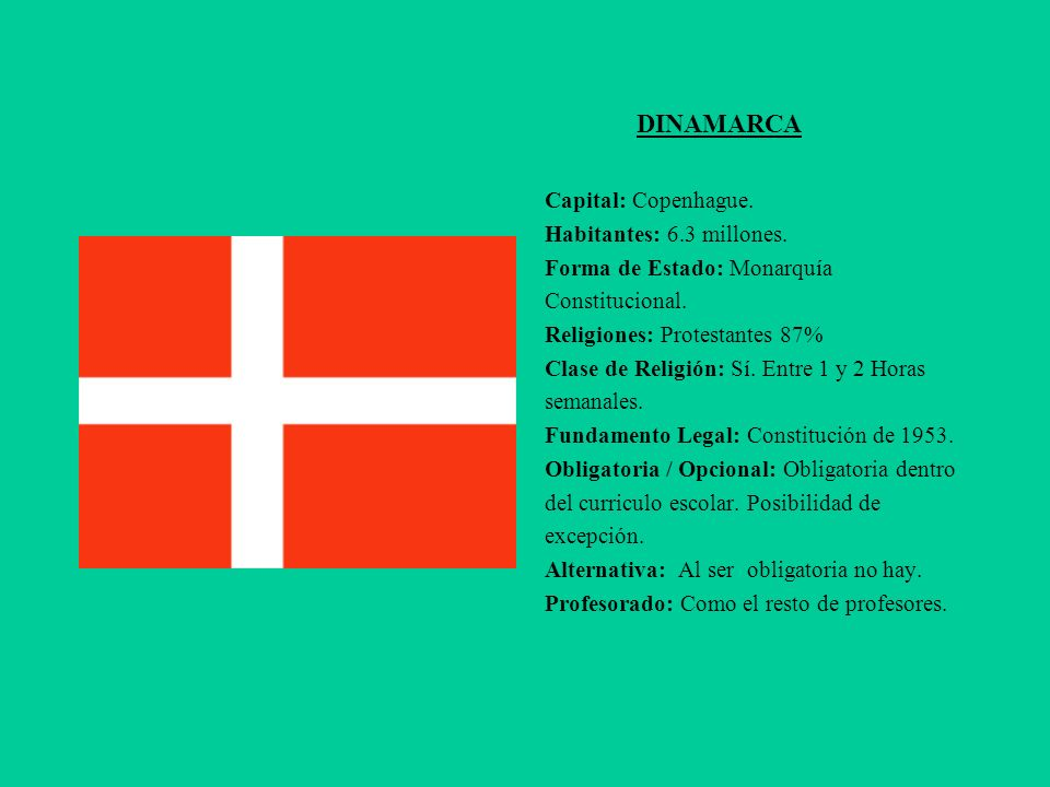 DINAMARCA Capital: Copenhague. Habitantes: 6.3 millones.