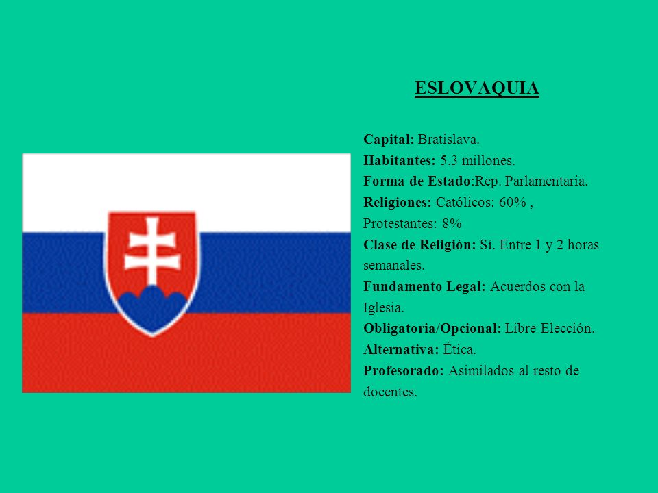 ESLOVAQUIA Capital: Bratislava. Habitantes: 5.3 millones.