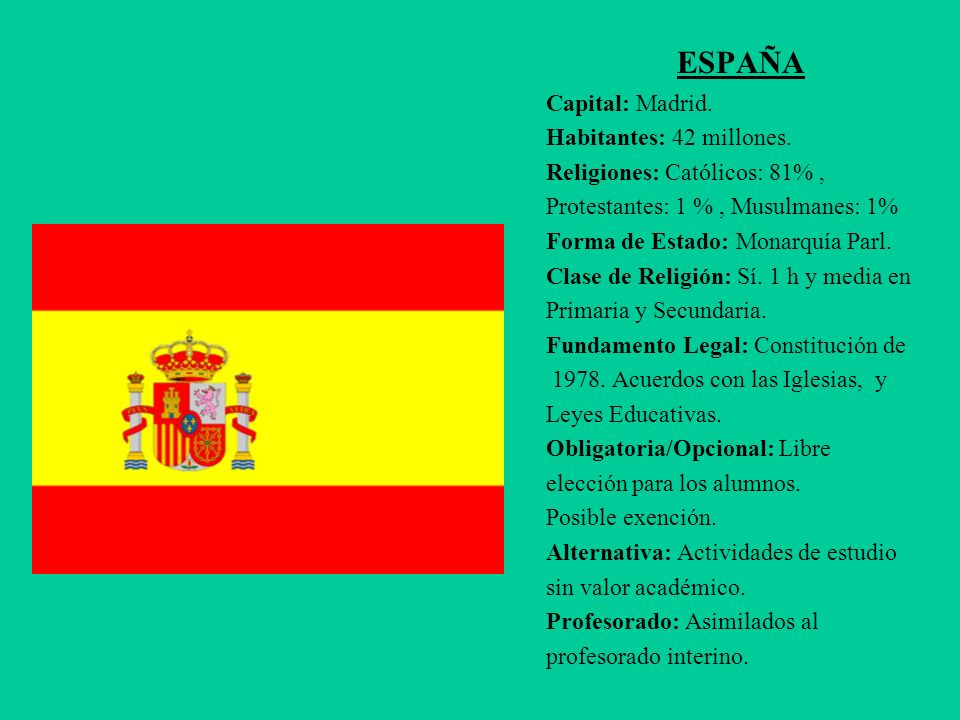ESPAÑA Capital: Madrid. Habitantes: 42 millones.