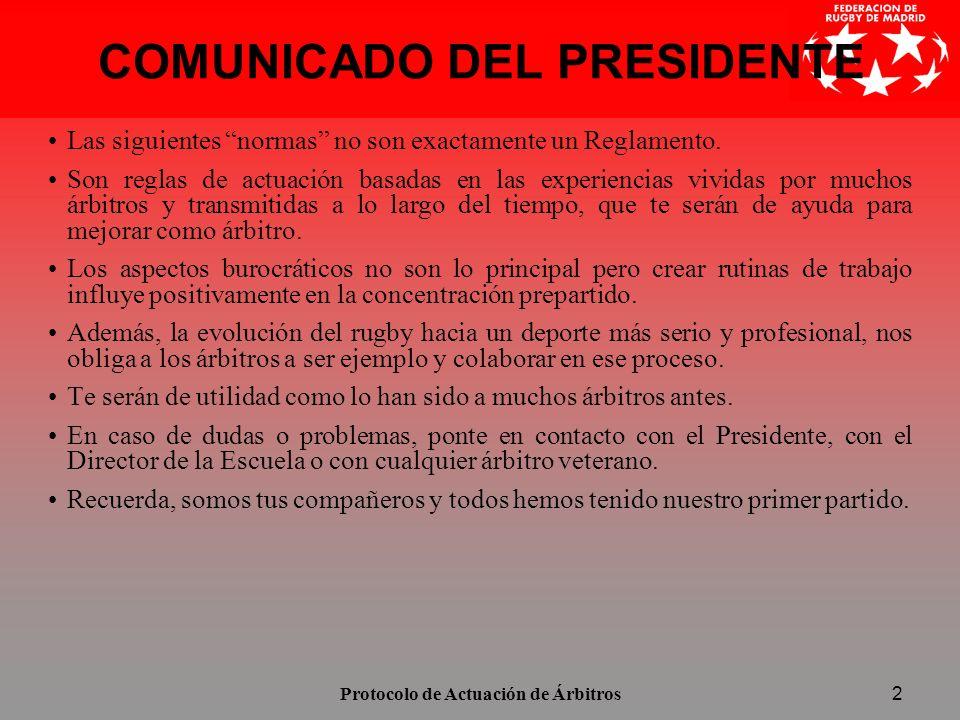 COMUNICADO DEL PRESIDENTE