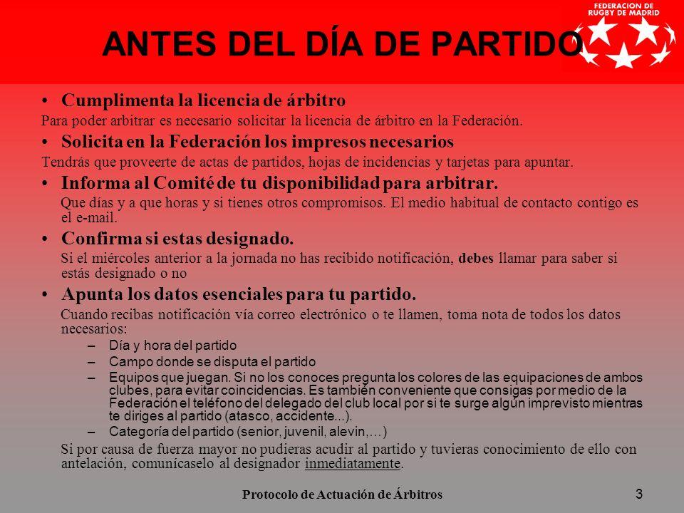 ANTES DEL DÍA DE PARTIDO