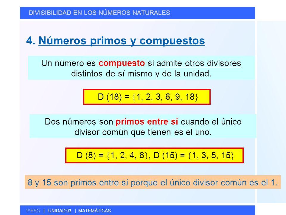 8 y 15 son primos entre sí porque el único divisor común es el 1.