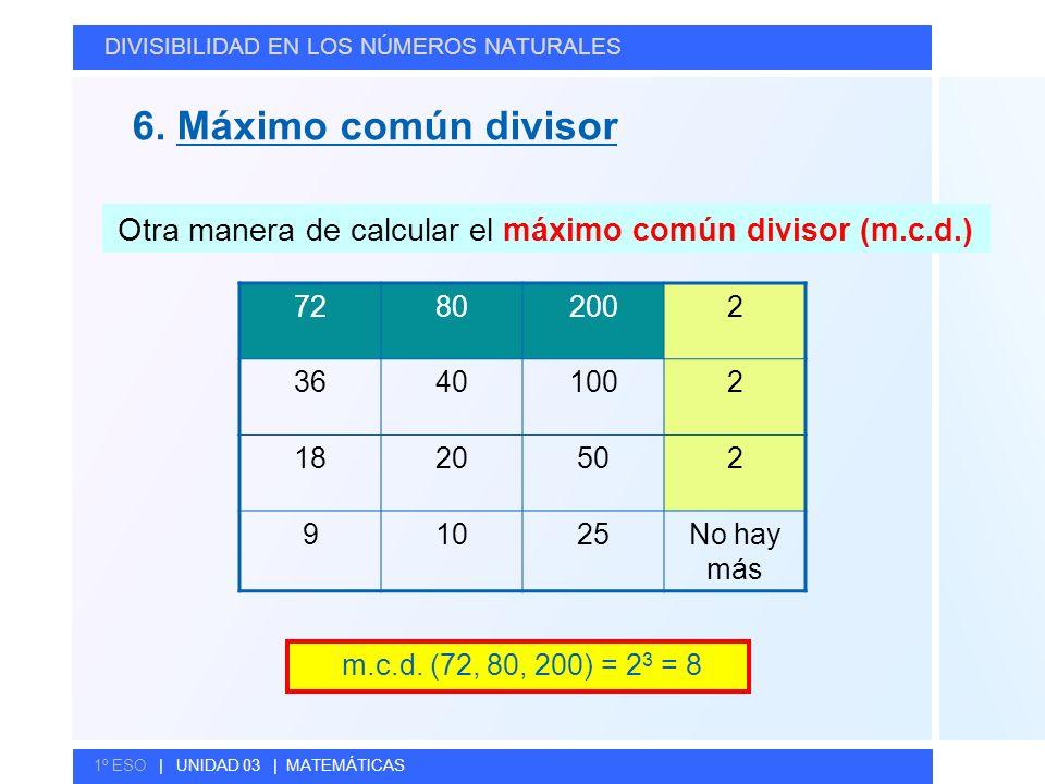 Otra manera de calcular el máximo común divisor (m.c.d.)