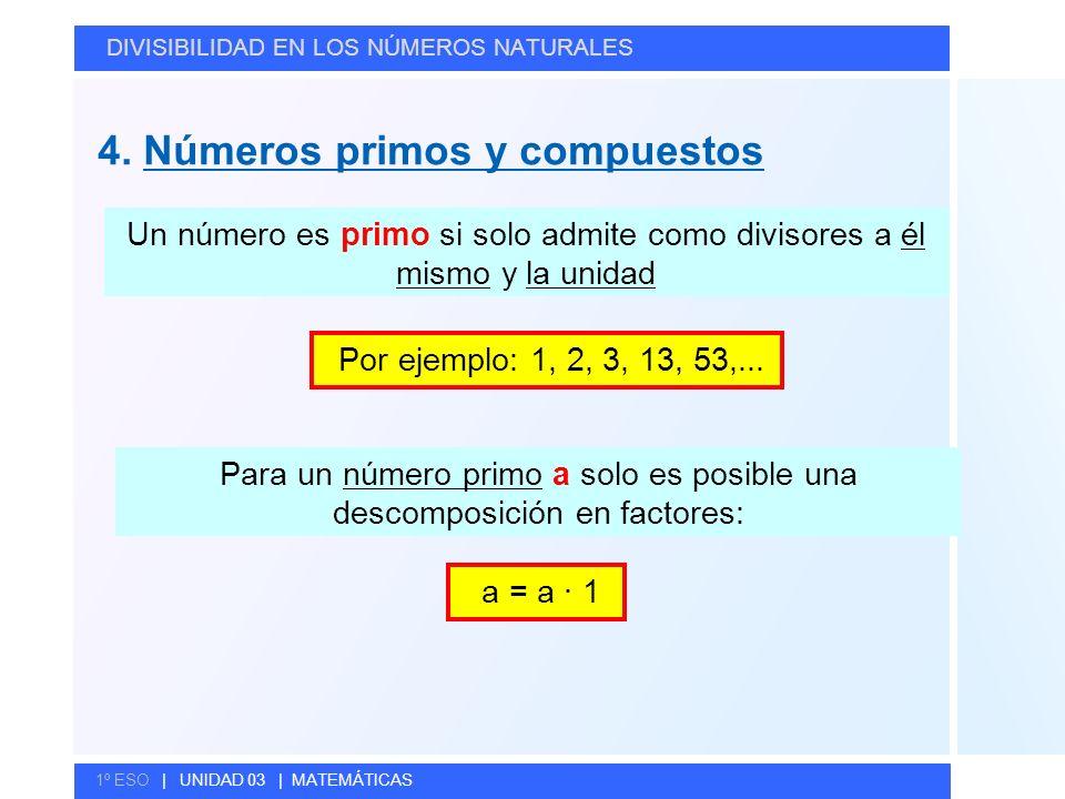 Para un número primo a solo es posible una descomposición en factores: