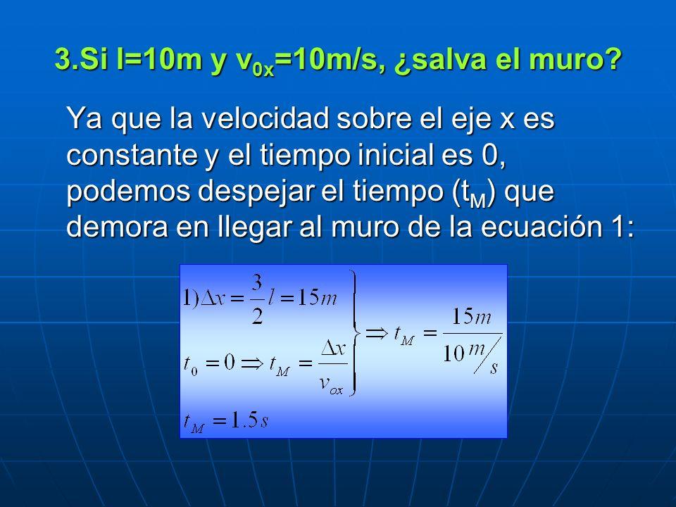 Si l=10m y v0x=10m/s, ¿salva el muro