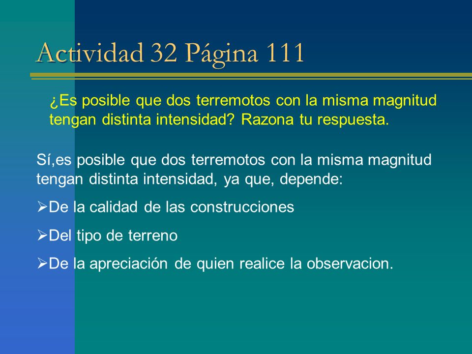 Actividad 32 Página 111 ¿Es posible que dos terremotos con la misma magnitud tengan distinta intensidad Razona tu respuesta.