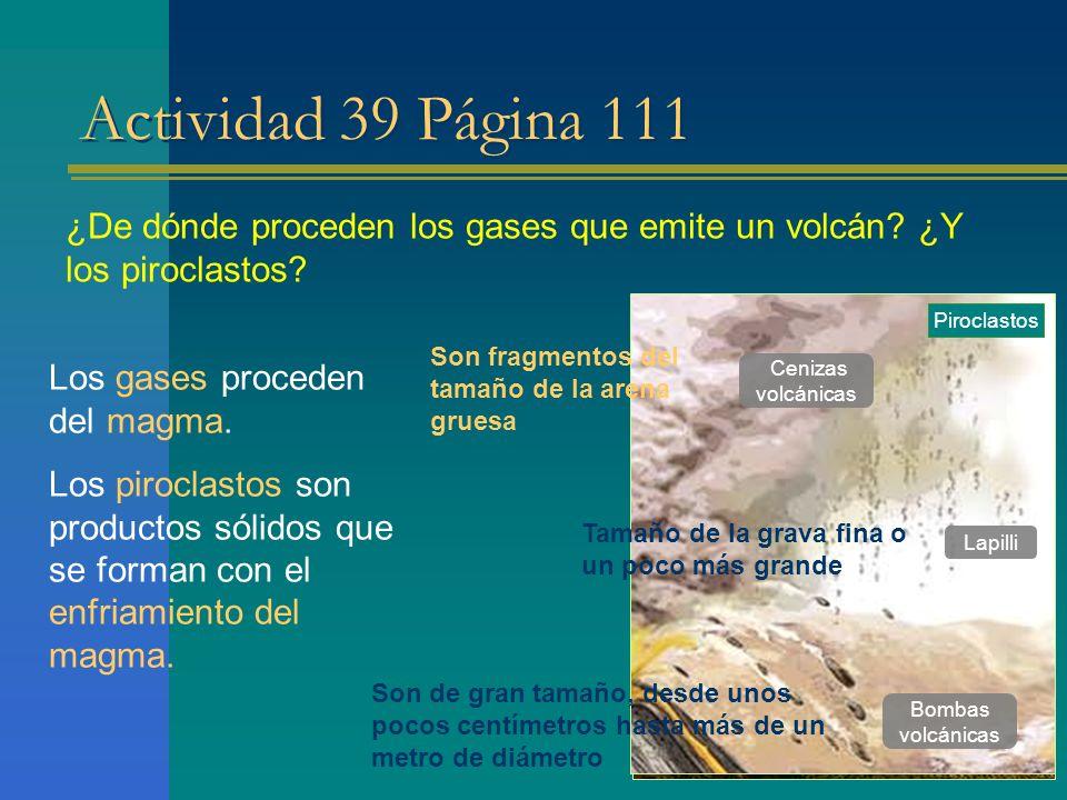 Actividad 39 Página 111 ¿De dónde proceden los gases que emite un volcán ¿Y los piroclastos Piroclastos.