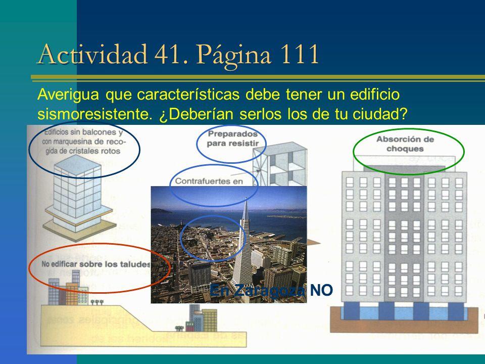 Actividad 41. Página 111 Averigua que características debe tener un edificio sismoresistente. ¿Deberían serlos los de tu ciudad