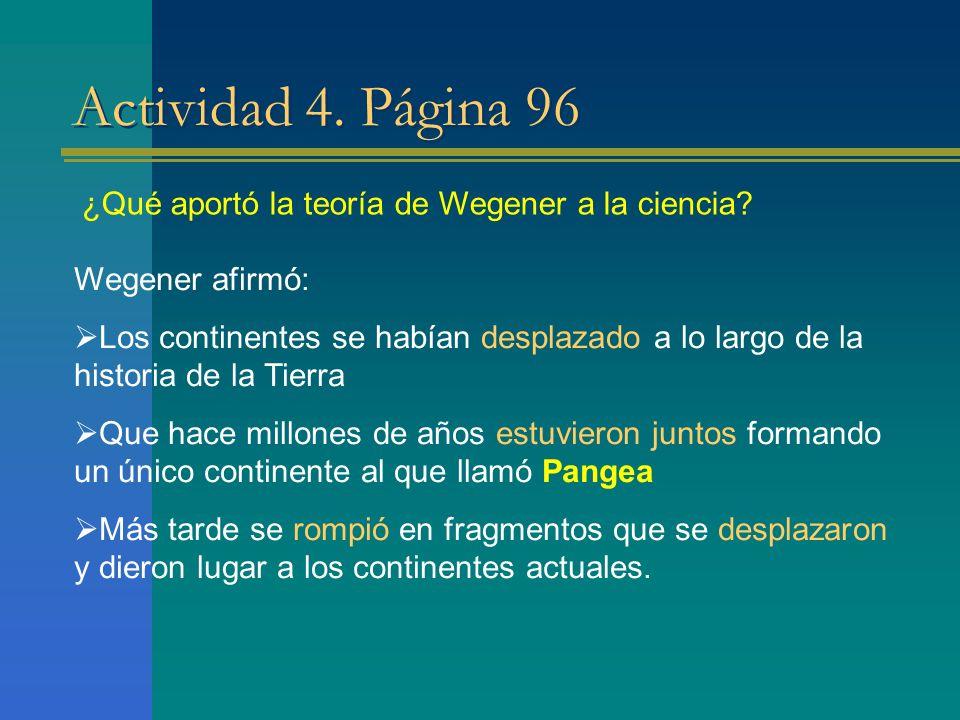 Actividad 4. Página 96 ¿Qué aportó la teoría de Wegener a la ciencia