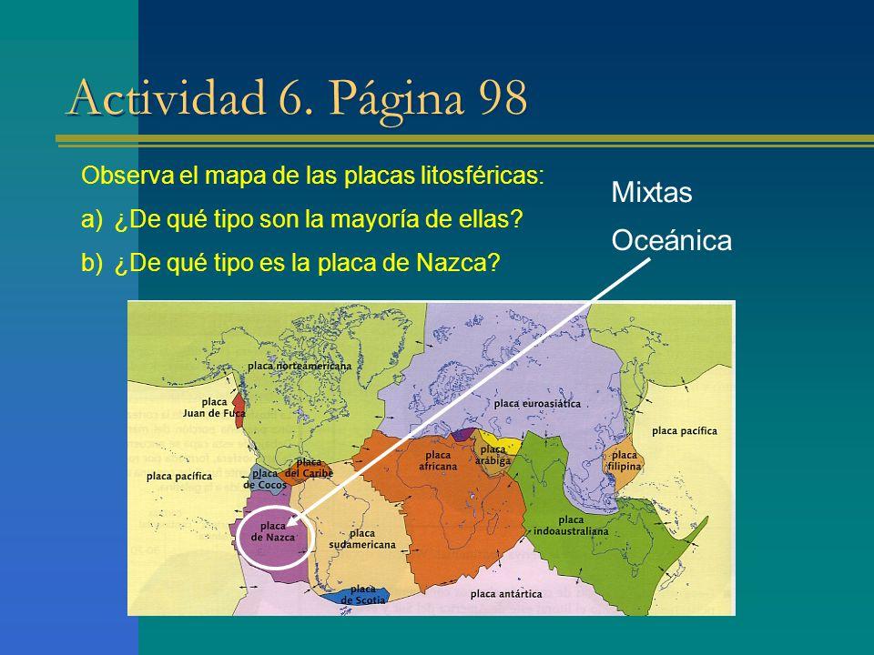 Actividad 6. Página 98 Mixtas Oceánica