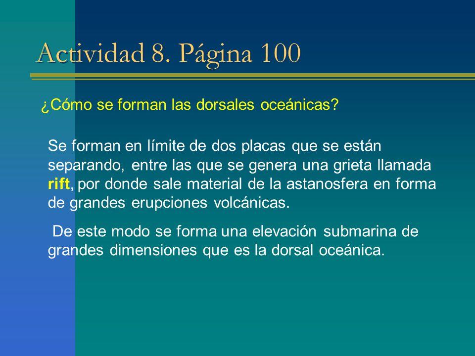 Actividad 8. Página 100 ¿Cómo se forman las dorsales oceánicas