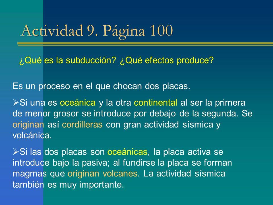 Actividad 9. Página 100 ¿Qué es la subducción ¿Qué efectos produce