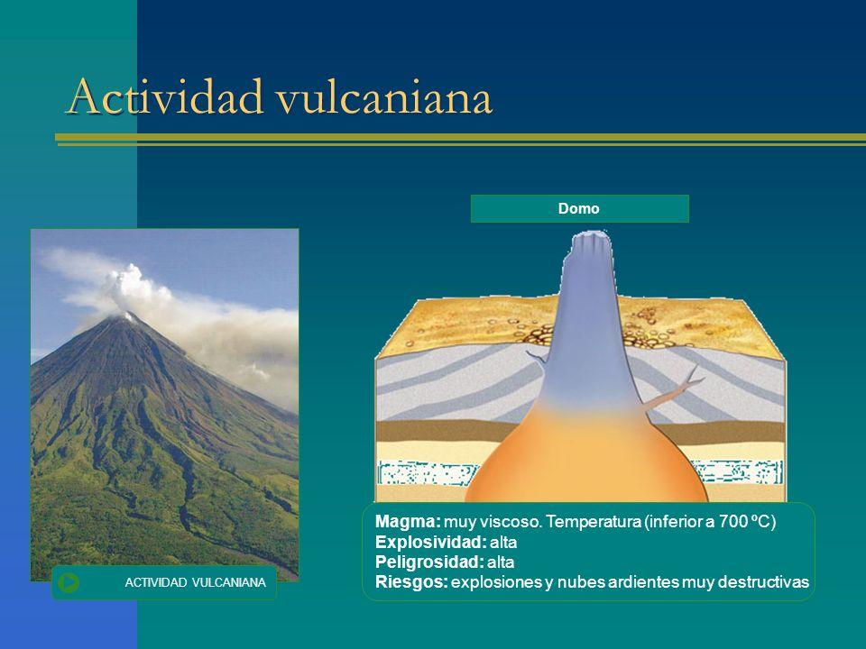 Actividad vulcaniana Domo. Magma: muy viscoso. Temperatura (inferior a 700 ºC) Explosividad: alta.