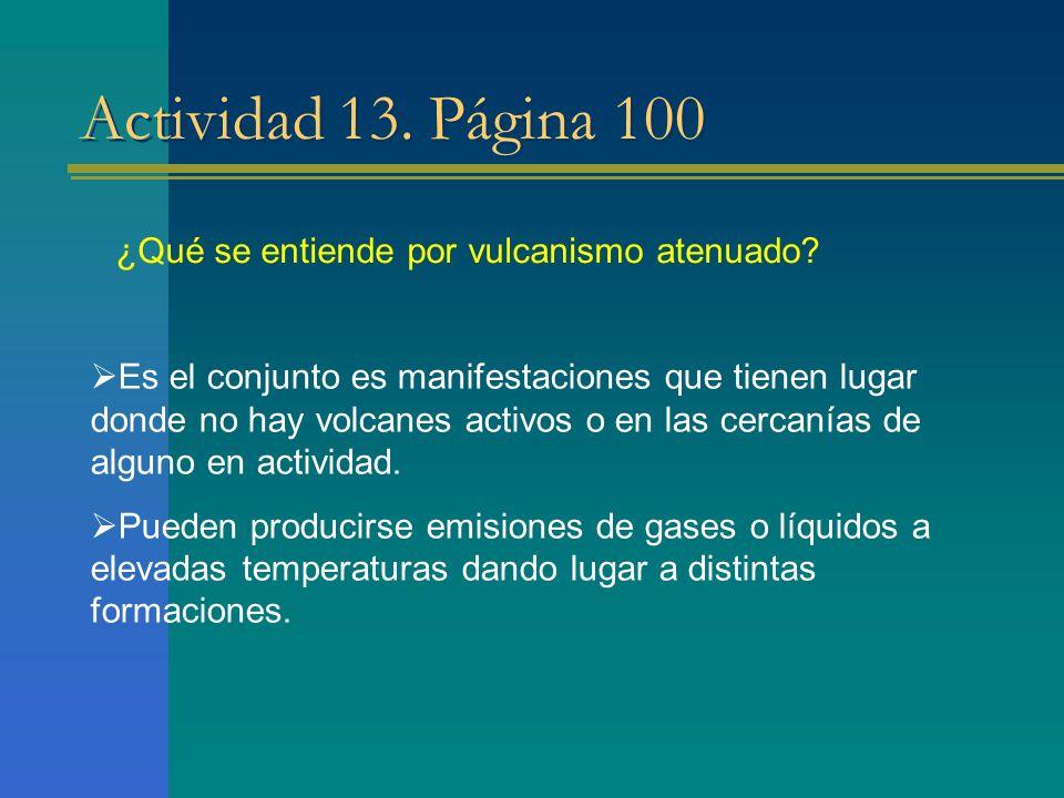 Actividad 13. Página 100 ¿Qué se entiende por vulcanismo atenuado