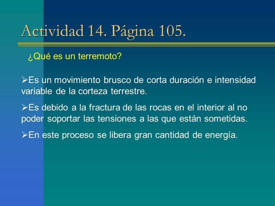 Actividad 14. Página 105. ¿Qué es un terremoto