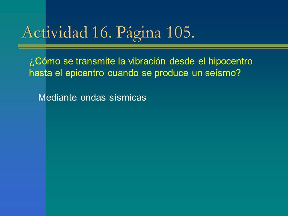 Actividad 16. Página 105. ¿Cómo se transmite la vibración desde el hipocentro hasta el epicentro cuando se produce un seísmo