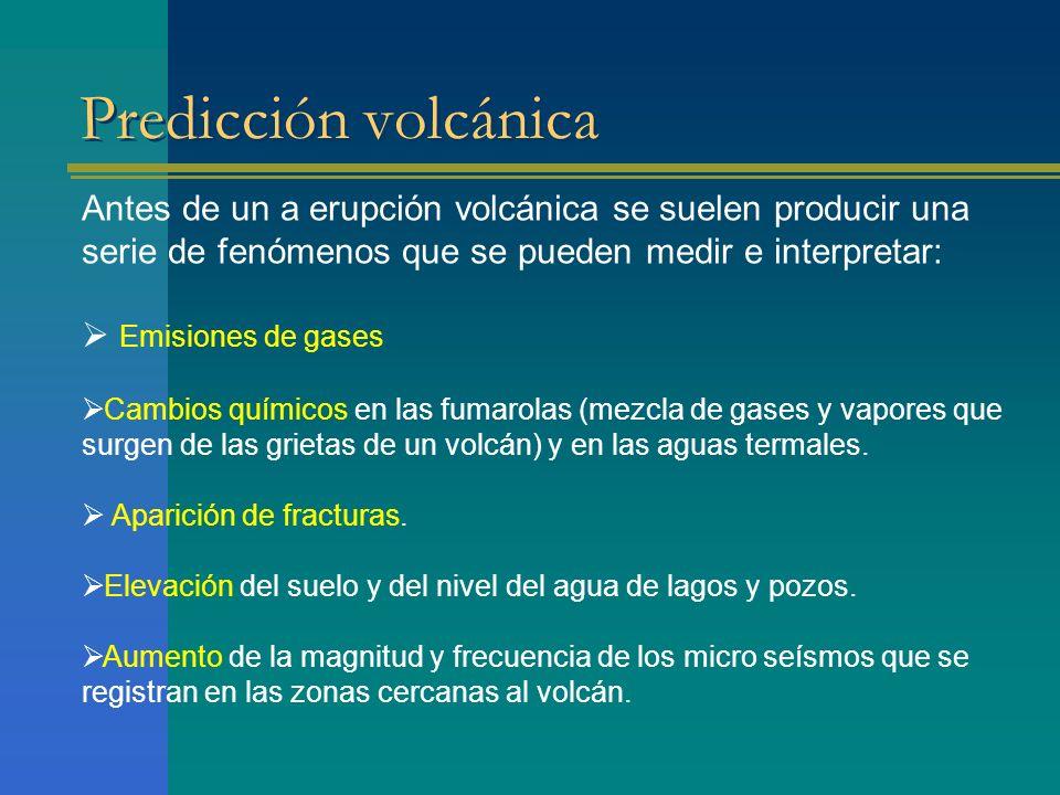 Predicción volcánica Antes de un a erupción volcánica se suelen producir una serie de fenómenos que se pueden medir e interpretar: