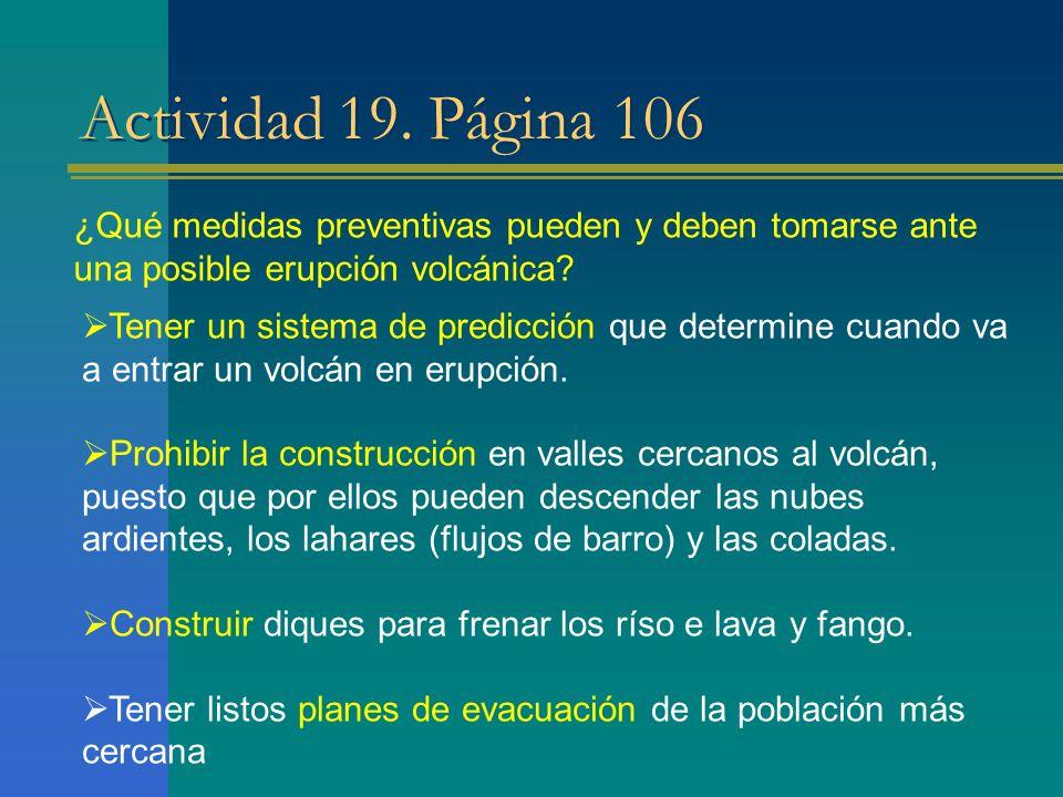 Actividad 19. Página 106 ¿Qué medidas preventivas pueden y deben tomarse ante una posible erupción volcánica