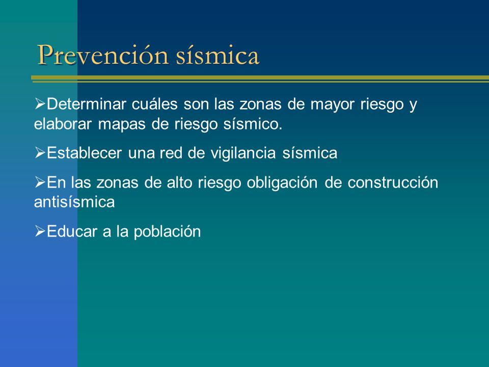 Prevención sísmica Determinar cuáles son las zonas de mayor riesgo y elaborar mapas de riesgo sísmico.