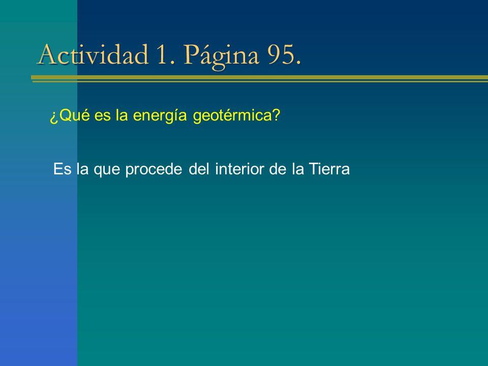 Actividad 1. Página 95. ¿Qué es la energía geotérmica