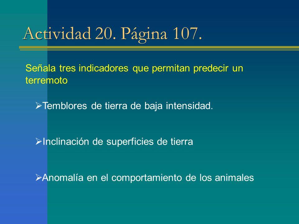 Actividad 20. Página 107. Señala tres indicadores que permitan predecir un terremoto. Temblores de tierra de baja intensidad.