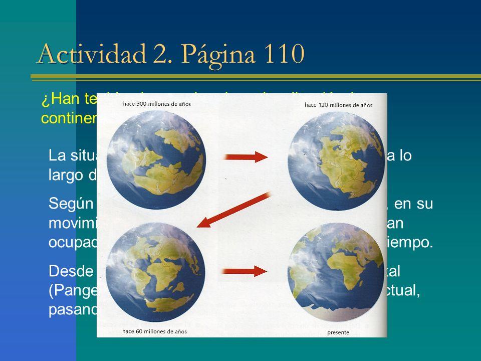Actividad 2. Página 110 ¿Han tenido siempre la misma localización los continentes Justifica tu respuesta.