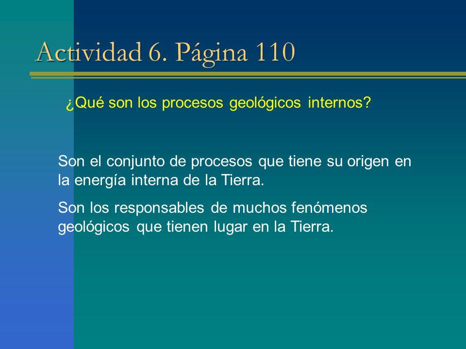Actividad 6. Página 110 ¿Qué son los procesos geológicos internos