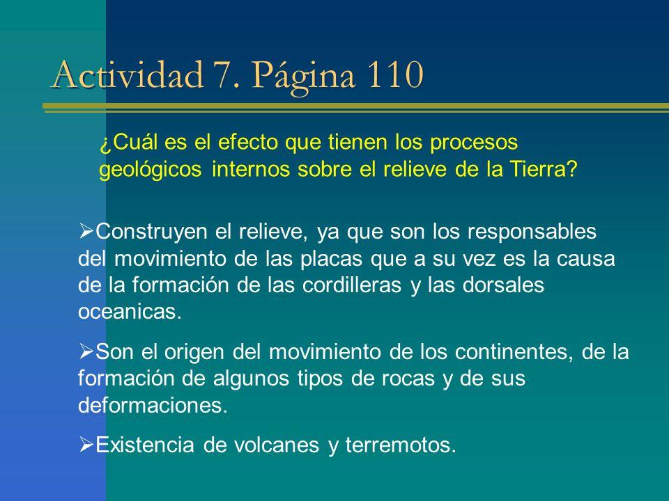 Actividad 7. Página 110 ¿Cuál es el efecto que tienen los procesos geológicos internos sobre el relieve de la Tierra