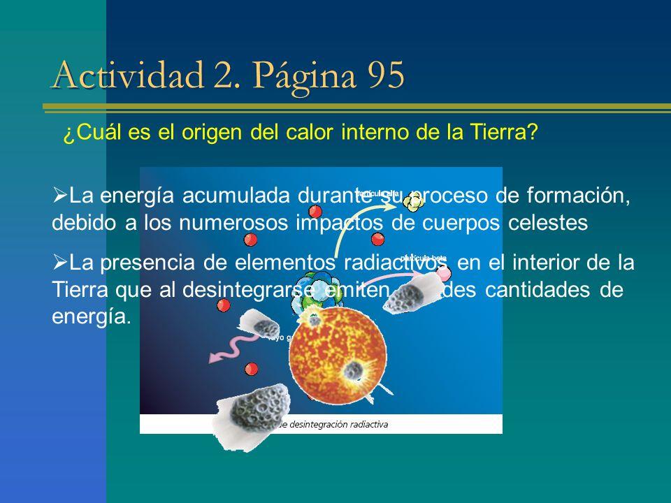 Actividad 2. Página 95 ¿Cuál es el origen del calor interno de la Tierra