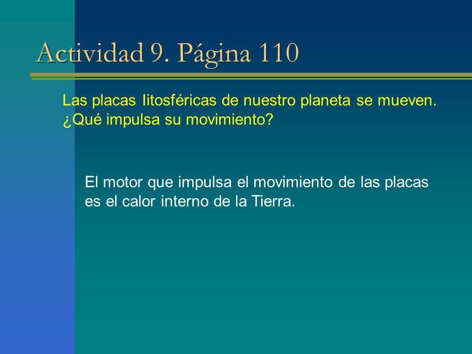Actividad 9. Página 110 Las placas Iitosféricas de nuestro planeta se mueven. ¿Qué impulsa su movimiento