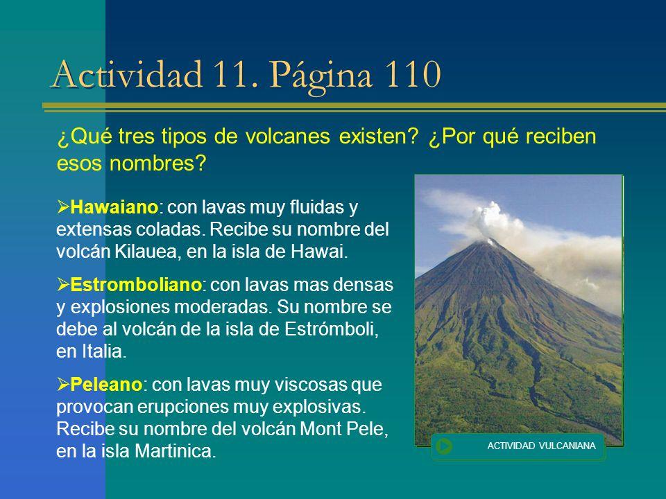 Actividad 11. Página 110 ¿Qué tres tipos de volcanes existen ¿Por qué reciben esos nombres