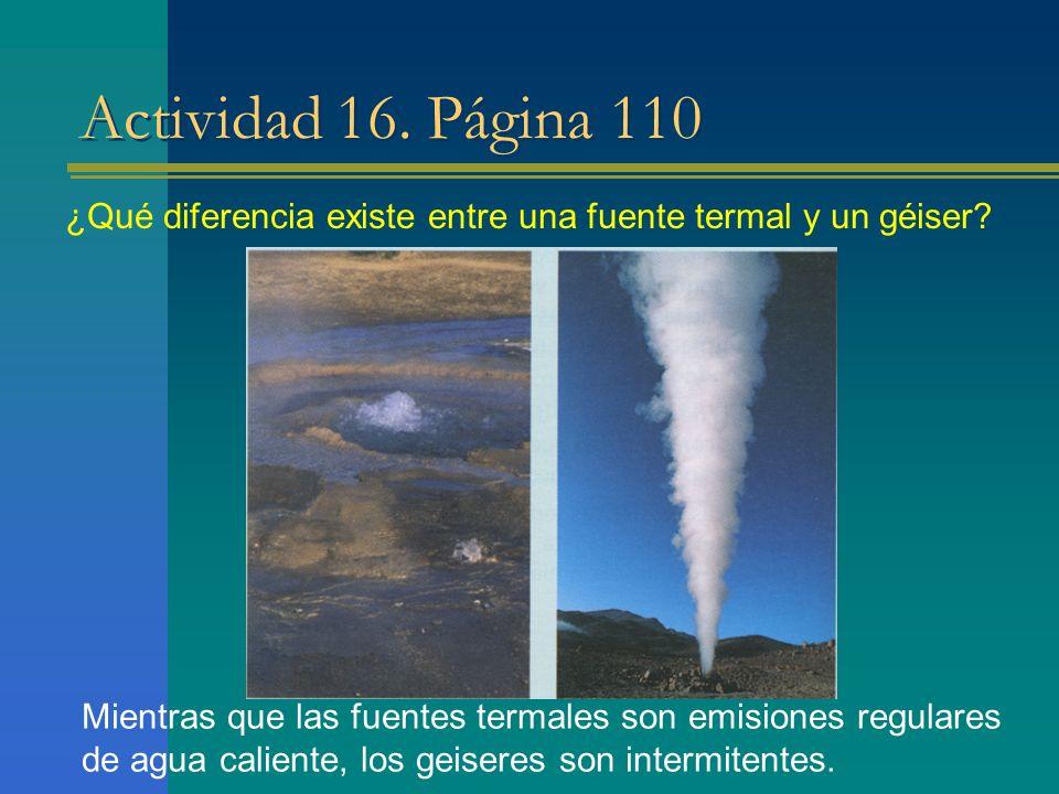 Actividad 16. Página 110 ¿Qué diferencia existe entre una fuente termal y un géiser