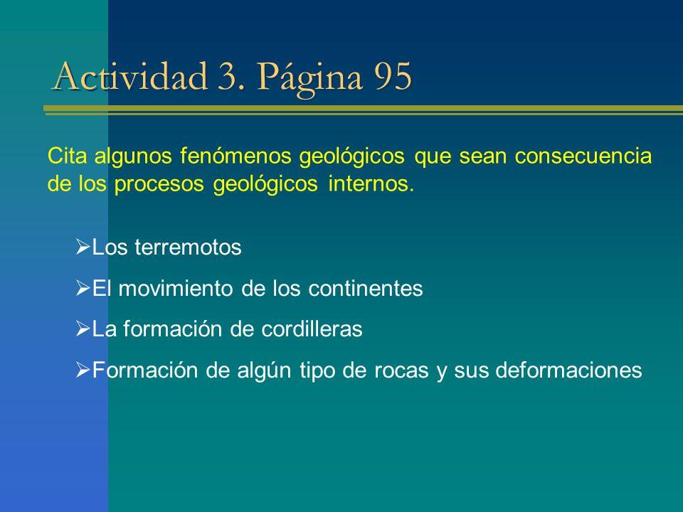 Actividad 3. Página 95 Cita algunos fenómenos geológicos que sean consecuencia de los procesos geológicos internos.