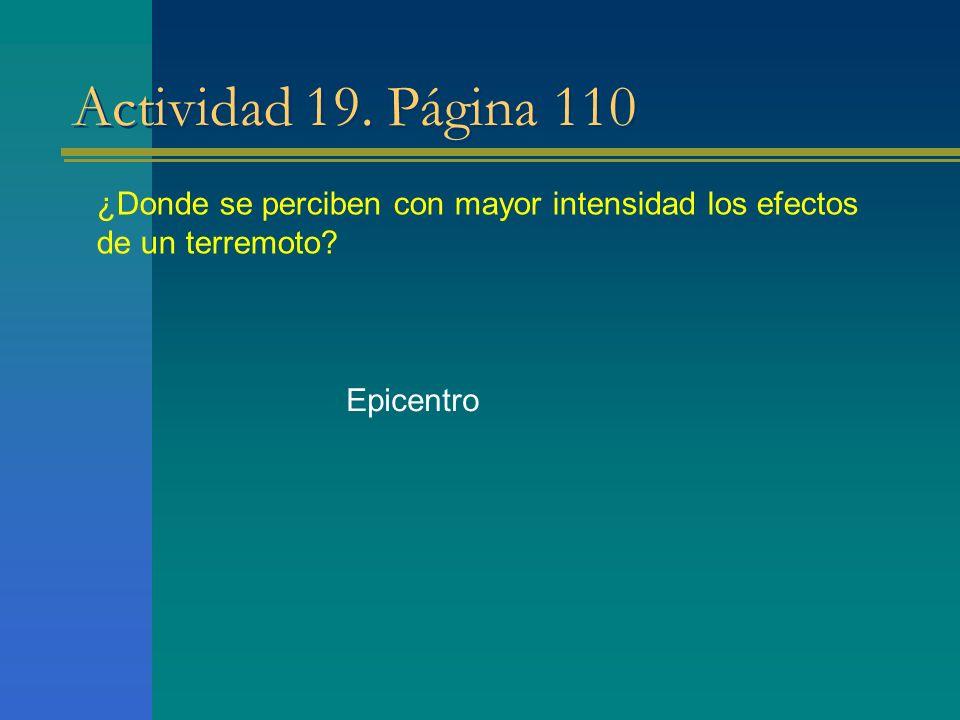Actividad 19. Página 110 ¿Donde se perciben con mayor intensidad los efectos de un terremoto.