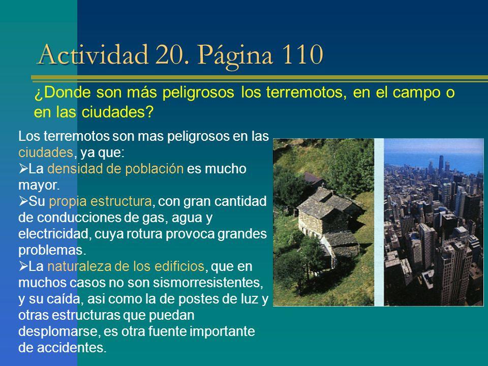 Actividad 20. Página 110 ¿Donde son más peligrosos los terremotos, en el campo o en las ciudades