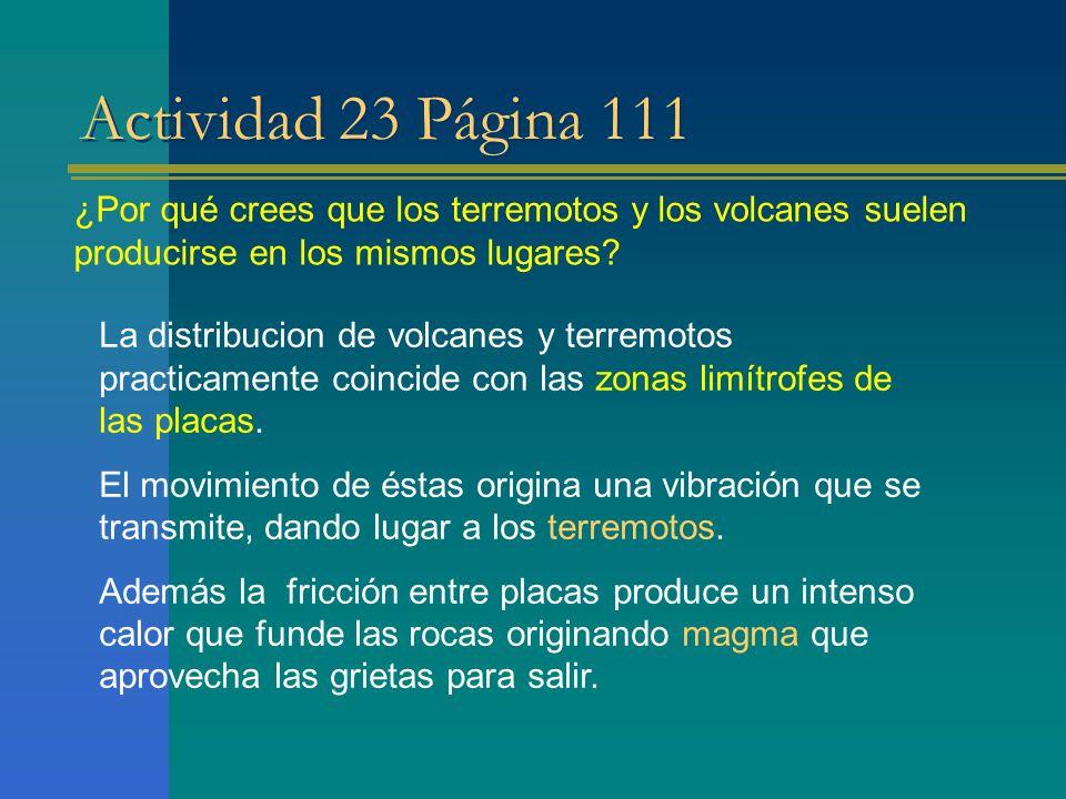 Actividad 23 Página 111 ¿Por qué crees que los terremotos y los volcanes suelen producirse en los mismos lugares