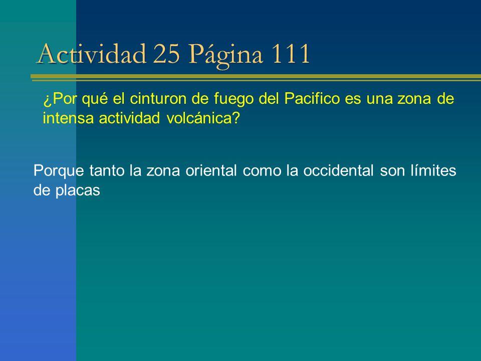 Actividad 25 Página 111 ¿Por qué el cinturon de fuego del Pacifico es una zona de intensa actividad volcánica
