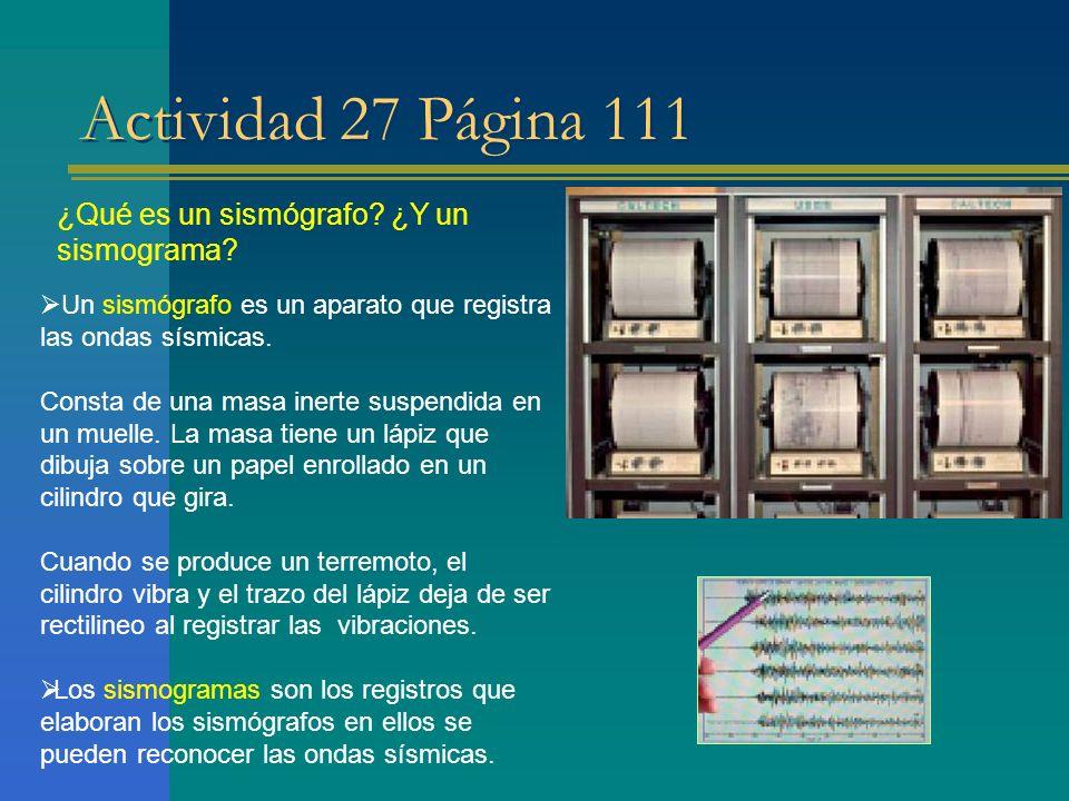 Actividad 27 Página 111 ¿Qué es un sismógrafo ¿Y un sismograma