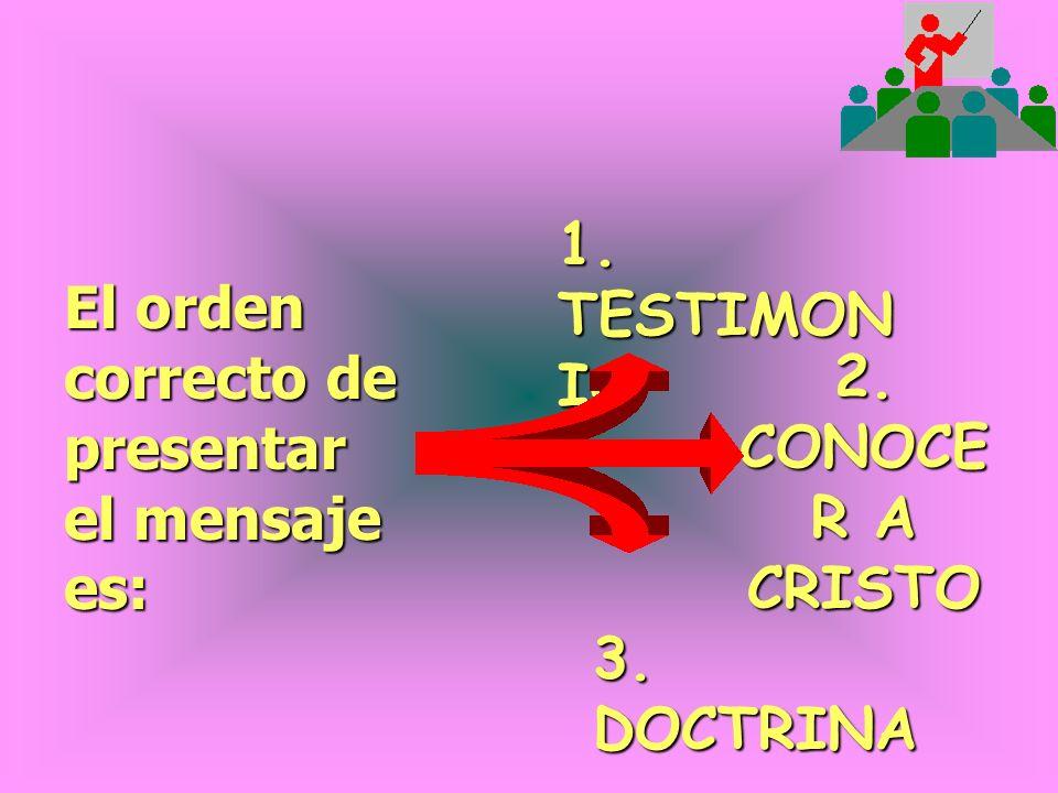 1. TESTIMONIO El orden correcto de presentar el mensaje es: 2. CONOCER A CRISTO 3. DOCTRINA