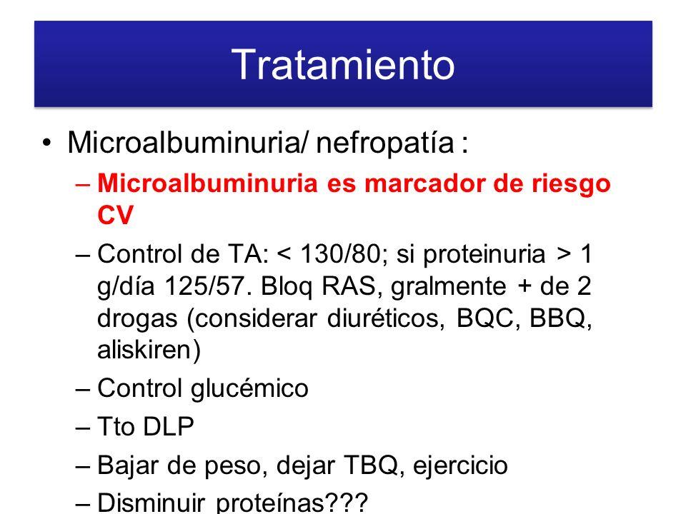 Tratamiento Microalbuminuria/ nefropatía :