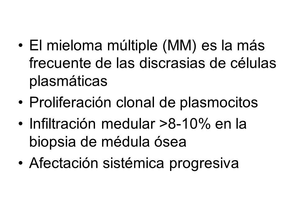 El mieloma múltiple (MM) es la más frecuente de las discrasias de células plasmáticas