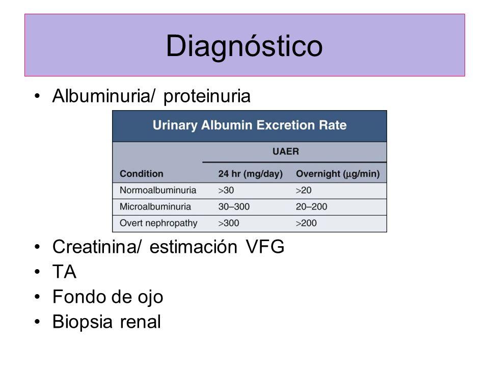 Diagnóstico Albuminuria/ proteinuria Creatinina/ estimación VFG TA