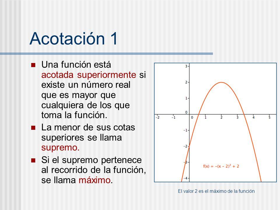 Acotación 1 Una función está acotada superiormente si existe un número real que es mayor que cualquiera de los que toma la función.