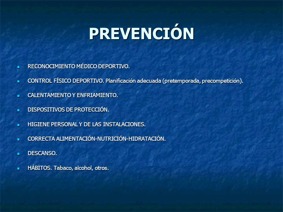 PREVENCIÓN RECONOCIMIENTO MÉDICO DEPORTIVO.